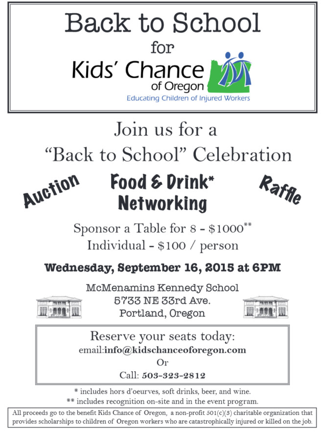 Kids Chance of Oregon Fundraiser - Back to School